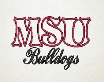 MSU,  MSU Bulldogs Embroidery Design (11) Instant Download