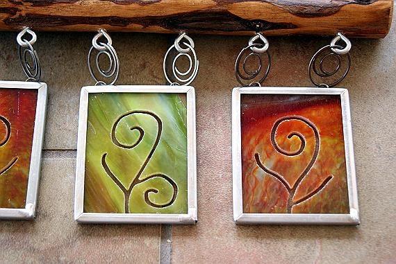 Cedar Stained Glass Three Panel Wall Window Mobile OOAK