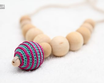 Nursing necklace/Teething necklace - Neon Spiral pendant in fuchsia and teal. Autumn gift under 15