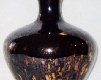 Vintage Jet Black with Gold Vase, Vintage Vase, Vintage Black Vase, Home Decor, Vase, Decorator Vase, Black Glass Vase
