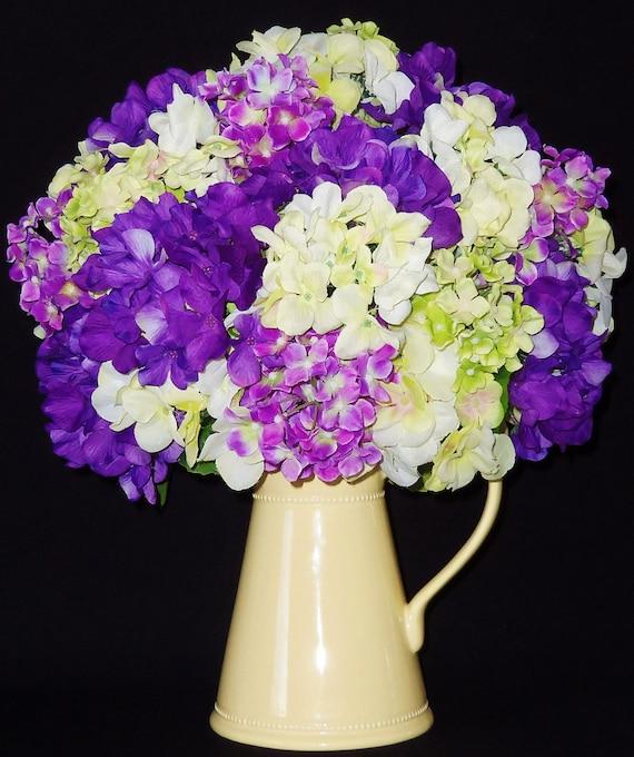 Silk Floral Arrangement Lavender Purple and Green