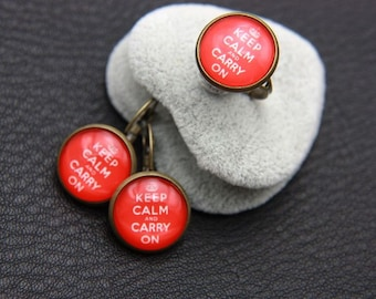 "SET earrings and ring  ""keep calm and carry on"""