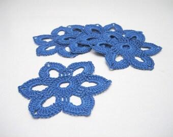 9 blue crochet flower ornaments. Crochet Christmas decor. Lace snowflake ornament set 9. Scrapbooking applique.