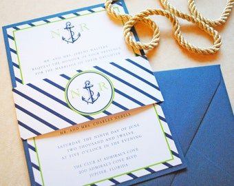 Nautical Wedding Invitation, Nautical Invitations, Anchor Wedding Invitation, Vintage Wedding Invite - Wedding Invitation