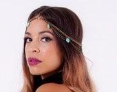 Valerie. Beautiful Golden arrowhead, double chain turquoise head piece