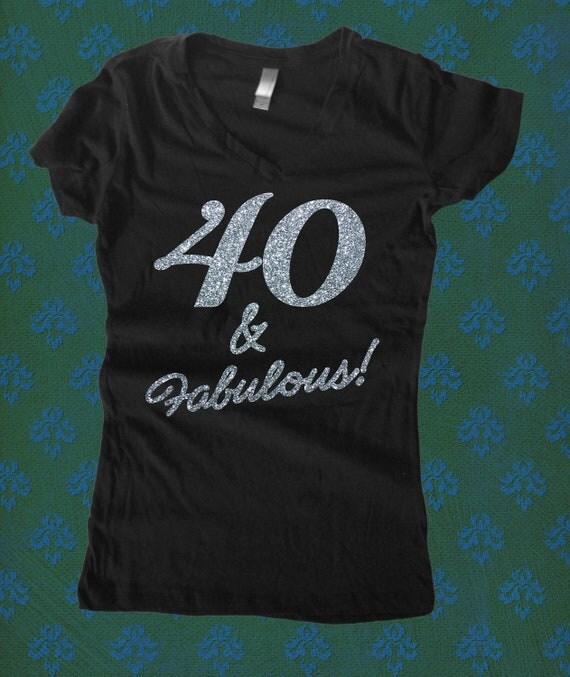 40 & Fabulous Glitter Sporty V Neck T Shirt