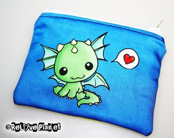 Heart Dragon Mini Coin Purse Zipper Pouch - Kawaii cute - Wallet - ReLove Plan.et