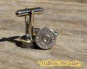 Silver .45 Caliber Bullet Shell Casing Cufflinks