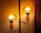 Vintage Tension Pole Lamp 2 Double Hurricane Amber Shade Chimney