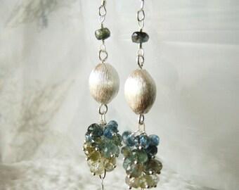 Brushed silver gemstone earrings, moss aquamarine earrings, sterling silver jewellery OOAK