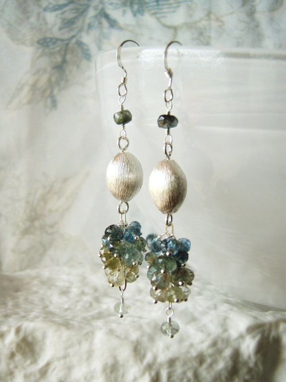 Brushed silver gemstone earrings, moss aquamarine earrings, sterling silver jewellery OOAK