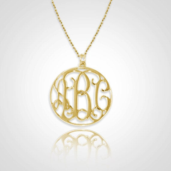 Monogram Necklace Personalized Circle Monogram Necklace 1 inch in 18kt Gold Plated Sterling Silver