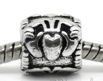 Claddagh Symbol Charm Bead For All European Style Charm Bracelets - Heart For Love, Hands For Friendship, and Crown For Loyalty