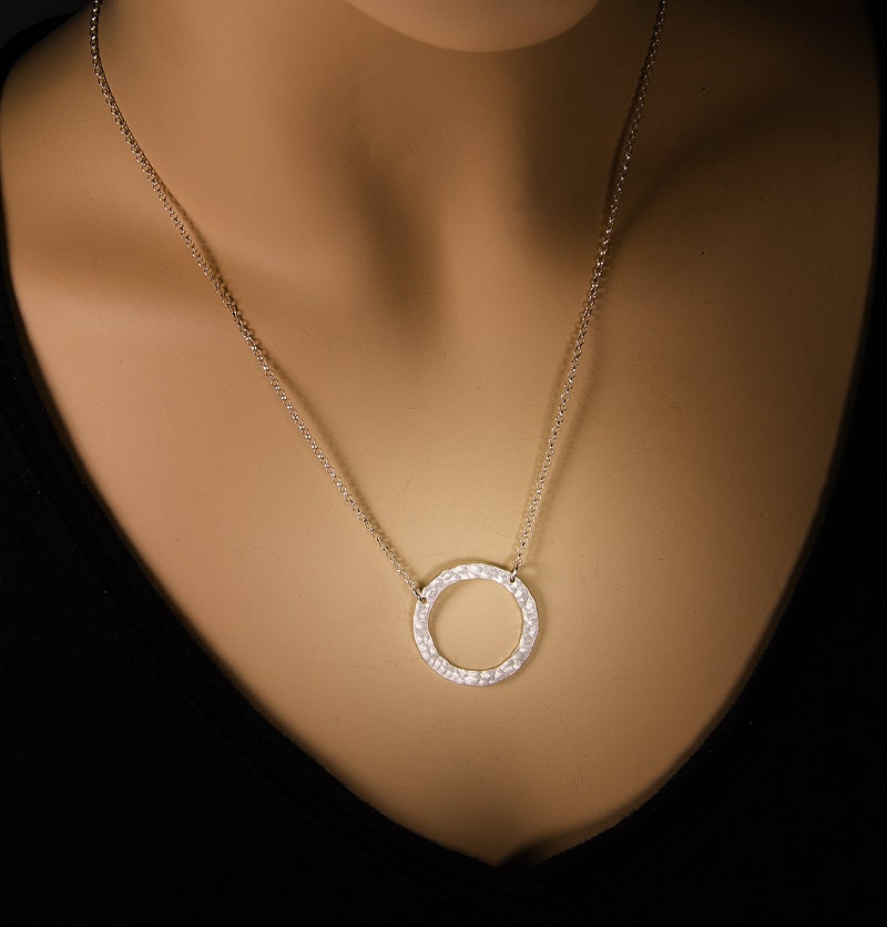 hammered silver circle necklace hammered silver necklace