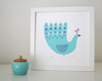 Peacock Screen Print in Aqua & Berry - Hand Printed Limited Edition of 250