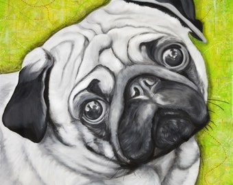 "Pop Art, Pug, 12"" x 12"" Signed Art Print, Wall Art, Animal Lover, Pet, Maps, Cute"