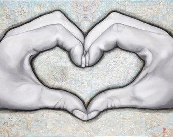 """Love Paris Heart Hands, 11"""" x 14"""" Fine Art Print, Signed by Jamie Rice, french home decor"""