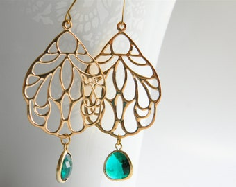 Gold Dangle Earrings - Gold Filigree Pendant Dangle Earrings with Emerald Green Faceted Drops