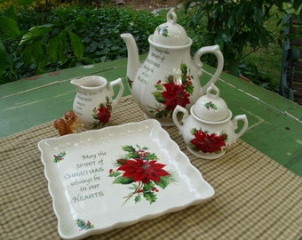 Cracker Barrel Season Of Peace Tea Serving Set-Christmas/Holiday/Winter Collectable