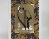 Vintage Art Deco Harpist Greeting Card
