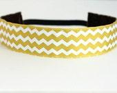 """Yellow & White Chevron Non-Slip Headband 1.5"""", NonSlip Headband, NoSlip Headband, Workout Headband, Running, Dance, Spinning, Fitness, Team"""