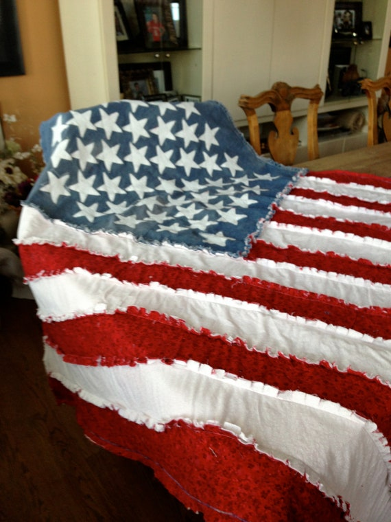 American Flag Blanket,  American Flag, Ragged Blanket
