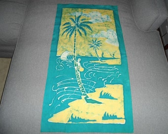 Handmade Batik Caribbean scene cloth-suitable for wall hanging