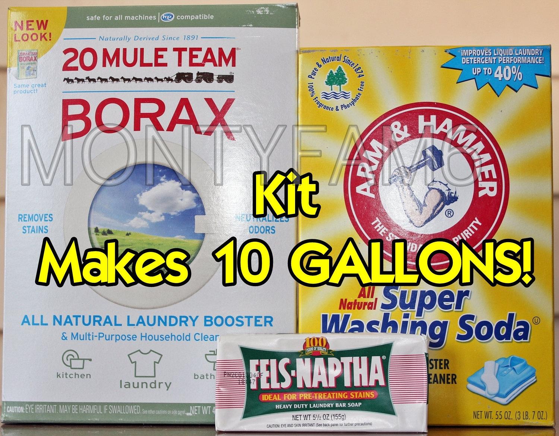 10 gal kit fels naptha washing soda borax homemade laundry. Black Bedroom Furniture Sets. Home Design Ideas
