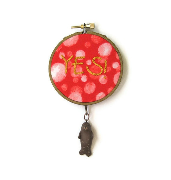 Seal of Approval Embroidery Hoop (with HandyMaiden) - Handpainted Miniature Seal Animal Red Home Decor