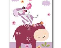 Baby Girl Wall Decor Baby Girl Room Decor Baby Girl Nursery Decor Wall Decor Girl Nursery Print Hippopotamus Zebra Purple Violet Pink