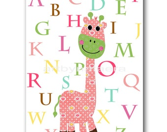 Baby Nursery Baby Girl Nursery Room Art baby Decor Nursery Wall Art Print Print Baby Room Kids Room Giraffe Alphabet Rose Decoration