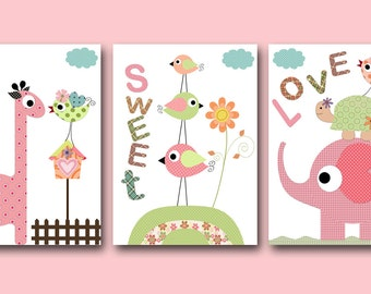 Nursery Art Print Baby Nursery Art Decor Baby Room Art Baby Girl Nursery Print set of 3 Baby Art Bird Giraffe Elephant Green Rose pink /