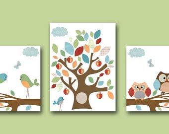 Art for Children Kids Wall Decor Baby Girl Boy Nursery Baby Room Decor Baby Nursery Decor Baby Boy Print set of 3 Bird Owl Blue Green Tree /