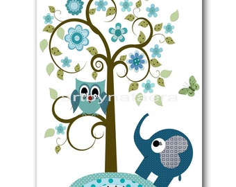 Art for Children Kids Wall Art Baby Boy Room Decor Baby Boy Nursery print art Print owl decoration elephant blue green