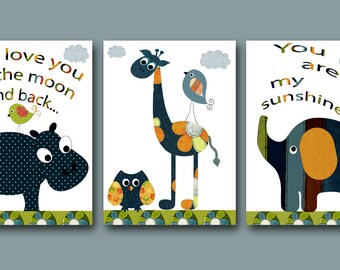 Kids Art for Children Kids Wall Art Baby Room Decor Baby Boy Nursery Print set of 3 11x14 Owl Decor Giraffe Elephant Hippopotamus Blue Navy