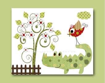 Baby Boy Nursery art prints nursery decor children art print Child Decor kids room decor kids art children print green crocodile bird