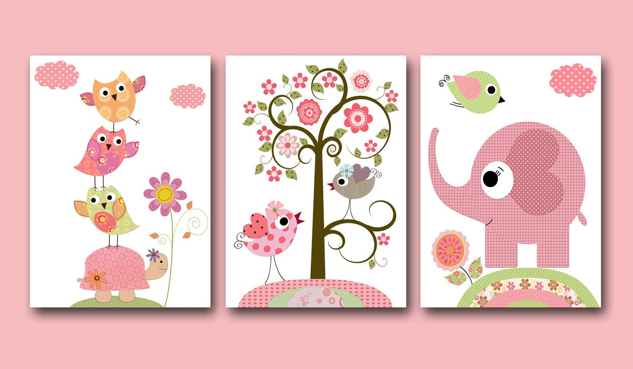 Baby girl nursery print baby art kids wall art baby girl room for Baby nursery mural