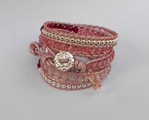 pink breast cancer awareness beaded leather wrap bracelet chan luu inspired feminine