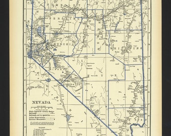 Vintage Map Nevada From 1930 Original