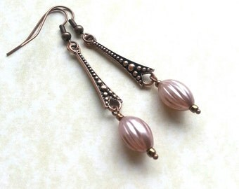 Elongated Copper Teardrop earring -Pink Spiral Whorl- Dotted strut with oyster pink beads