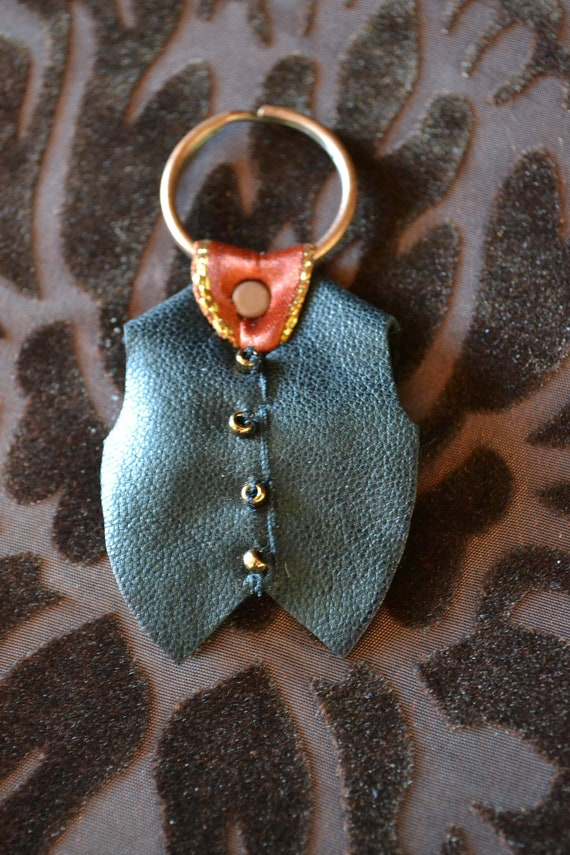 SALE Novelty Keyring - 'Gentleman's Waistcoat' - leather, ribbon and copper coloured beads