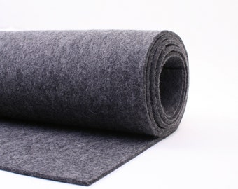 "Thick Wool Felt - 3mm - 18"" X 18"" - 100% Wool Felt - Heather Charcoal"