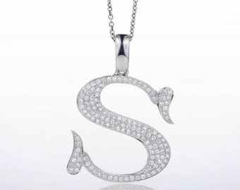 "18 Karat White Gold Diamond Initial ""S"" Pendant Necklace"