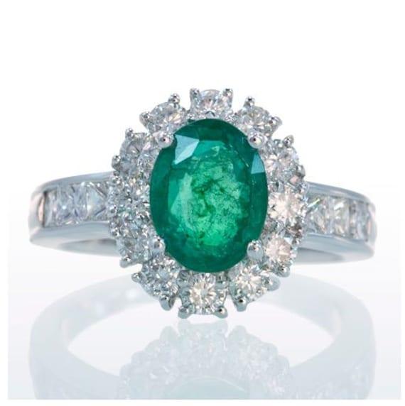 18 Karat White Gold Diamond Halo Ballerina Style Emerald Solitaire Engagement Anniversary Right Hand Ring