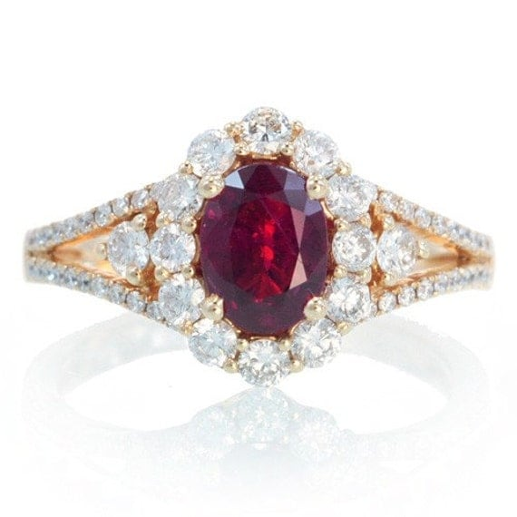 18K Ruby Engagement Ring Set In Rose Gold Halo Diamond
