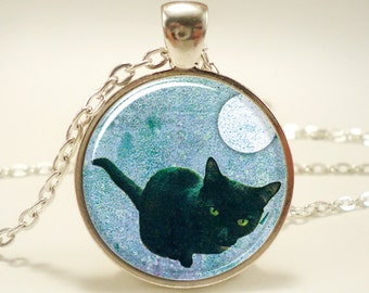 Black Cat Necklace, Halloween Jewelry (0874S1IN)