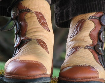 Custom Tree & Leaf Boots - Leather Boots Women - Leather Moccasin Boots -- Fairy Moccasins - Renaissance Boots -  Elven Boots for Men