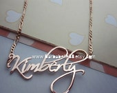 Custom pink gold plated name necklace come with Figaro chain. (Script font)