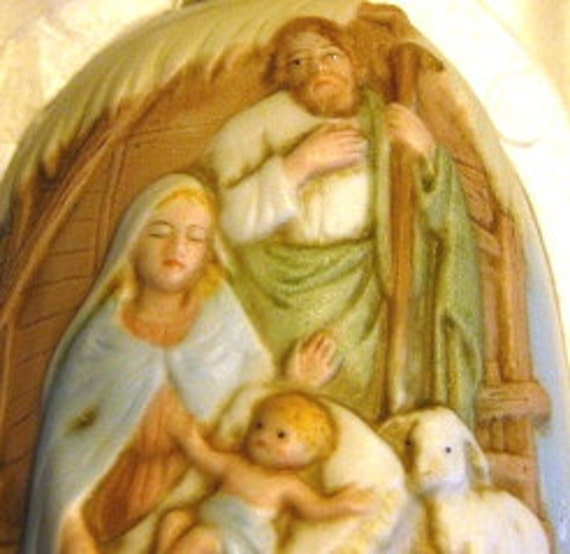 Vintage Homco Holy Family Nativity Christmas Bell MINT
