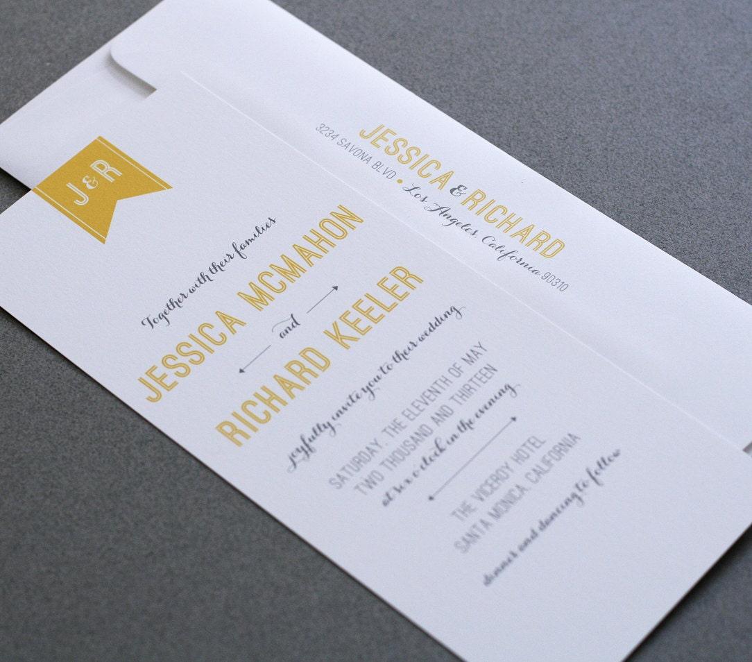 Gray And Yellow Wedding Invitations Wedding By CraftyPiePress